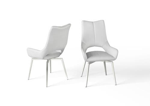 Pauline White Leather Swivel Dining Chair