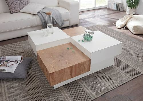 Peru White And Oak Coffee Table With Storage