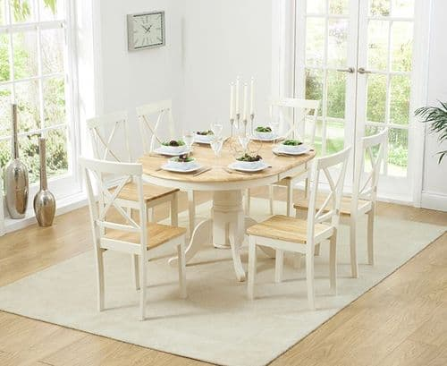Phylis Round Oak & Cream Extending Dining Table