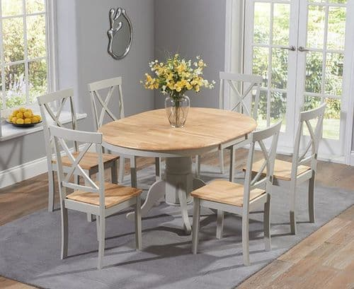 Phylis Round Oak & Grey Extending Dining Table