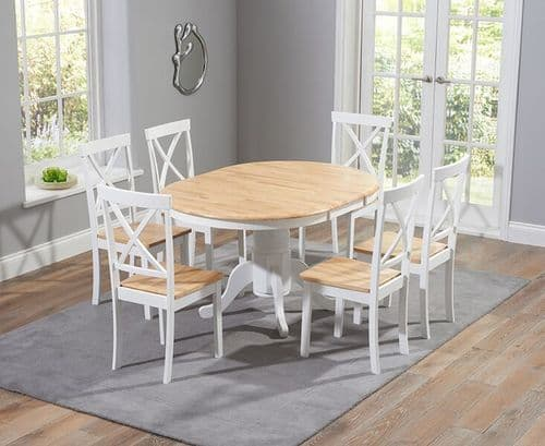 Phylis Round Oak & White Extending Dining Table
