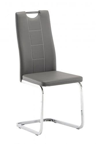 Plaza Grey Leather Dining Chair
