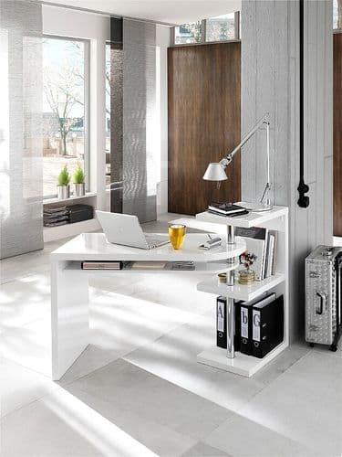 White Glossy Finish Pocock Office Desk With Swivel Shelf