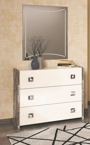 Ramona Italian White Gloss And Wood Effect Chest Of  Drawers
