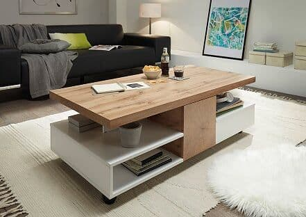 Relon Oak And White Coffee Table With Storage