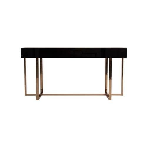 Rhia Art Deco Black Mirrored And Gold Console Table