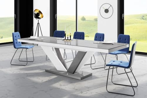 Riva 160cm-256cm White And Grey Gloss Extending Table