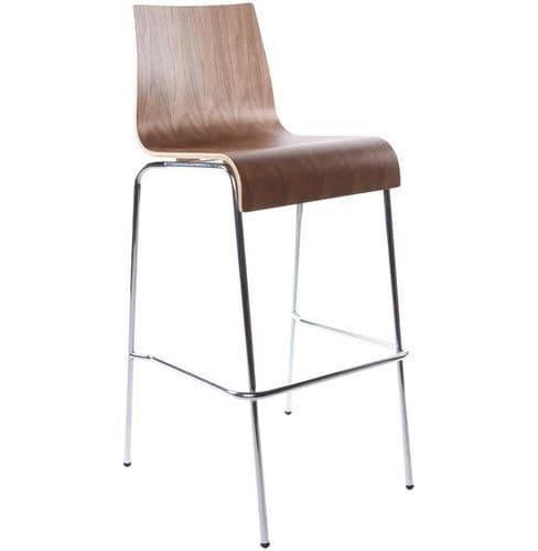 Saffron Walnut High Back Bar Chair Stool