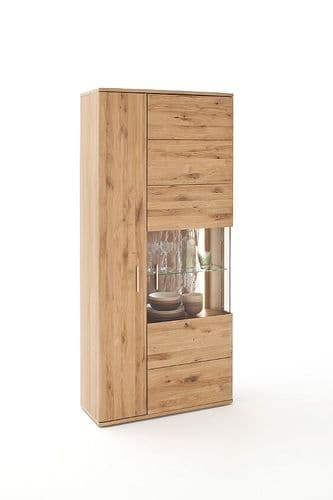 Santolina 90cm Oak Cupboard With Display And LED