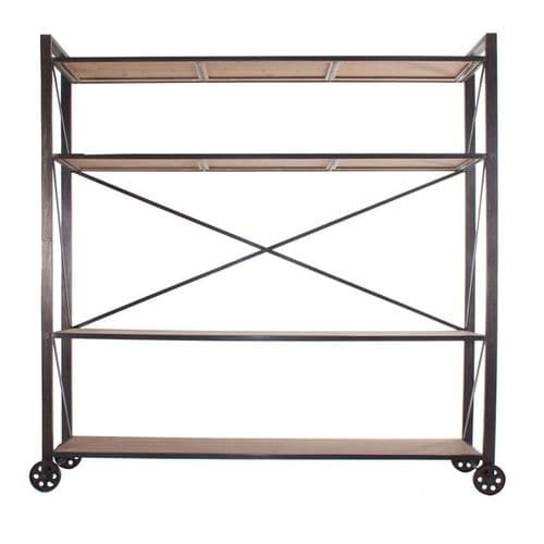 Stalone Industrial Style Tall Bookcase On Wheels
