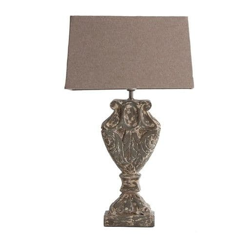 Stripped Grey Table Lamp With Natural Shade