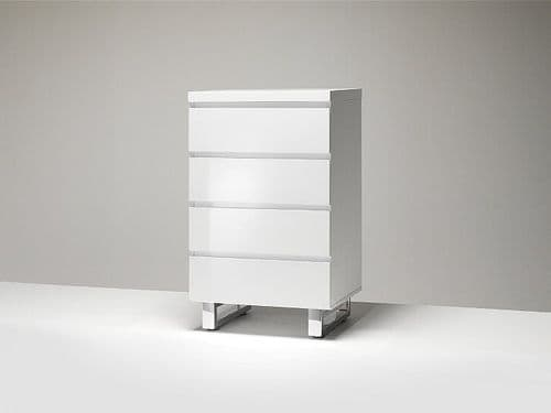 Synthia  Slim White Gloss 4 Drawer Chest