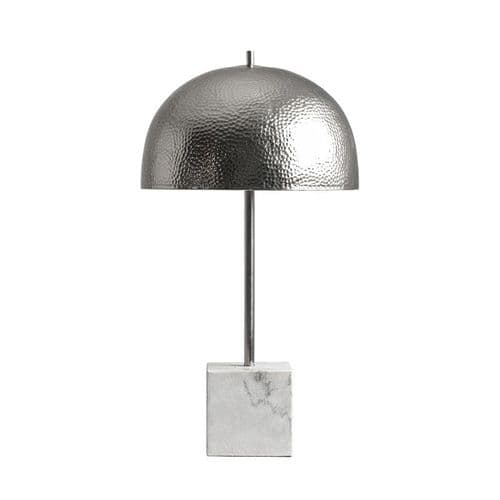 Table Lamp With White Marble And Aluminium