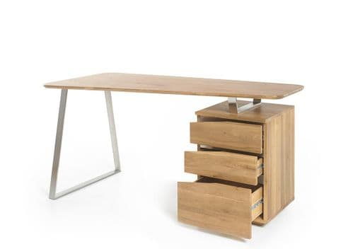 Torica Oiled Oak finish Office Desk With Stainless Brushed Legs