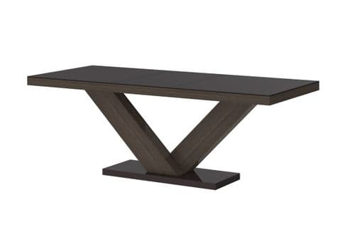 Vincenza Brown High Gloss Extending Table