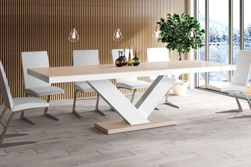 Vincenza Cappuccino And White High Gloss Extending Table