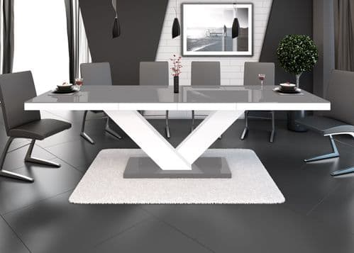 Vincenza Grey And White High Gloss Extending Table