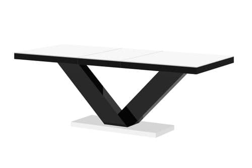 Vincenza White Top And Black High Gloss Extending Table
