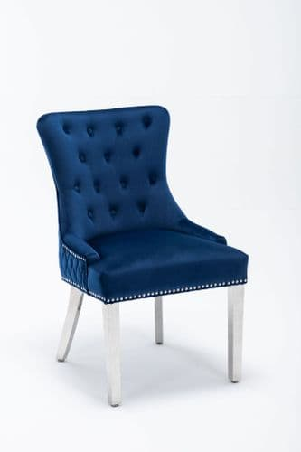 Winnie Caribbean Blue Velvet Dining Chair