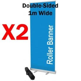 TWO X Double-Sided Roll Up Banner Stands 1M X 2M with padded bag