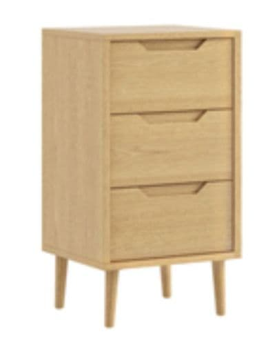 Turin 3 Drawer Bedside