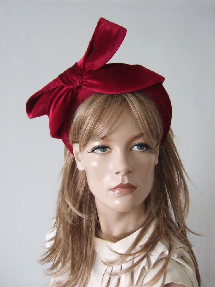 Berry Red Velvet Thick Padded Headband -Bow Embellish Autumn Winter Wedding - Zoom Calls Fashion