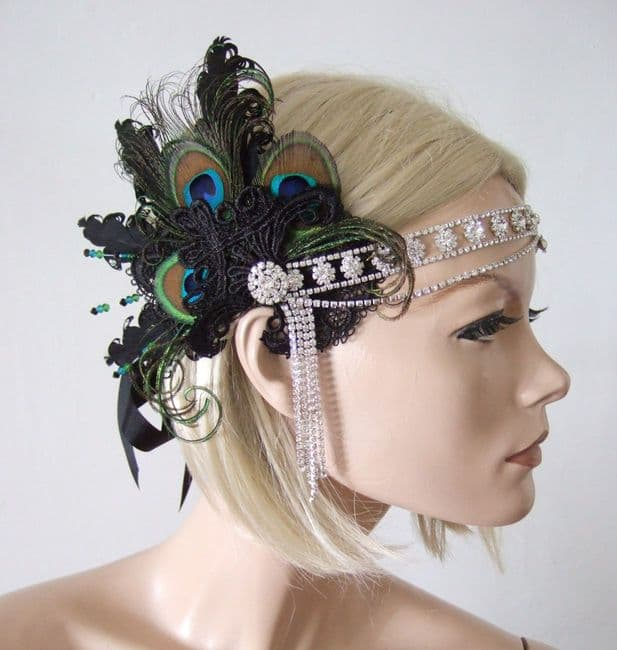 Peacock Feathers Lace Crystal Flapper 1920's Art Deco Headband Cocktail Party Headpiece - Gatsby