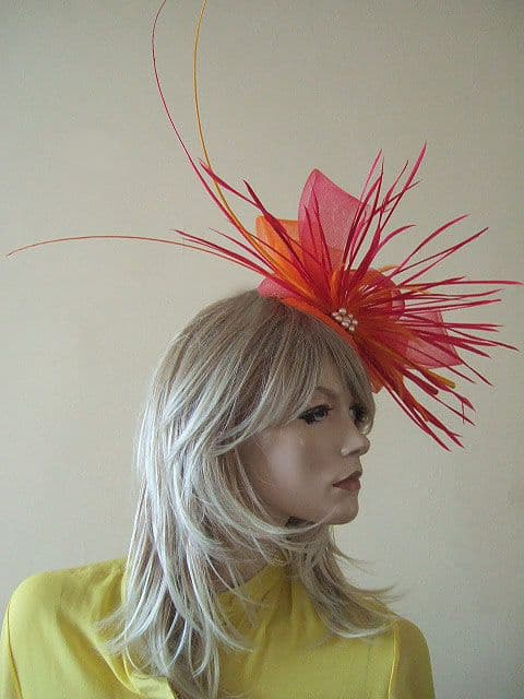 Bright Pink and Orange with Golden Yellow Fascinator Hatinator Ascot Kentucky Derby Headpiece. Orange Fascinator for the races 2020. Orange Fascinators for weddings 2020. Orange Royal Ascot Hats.