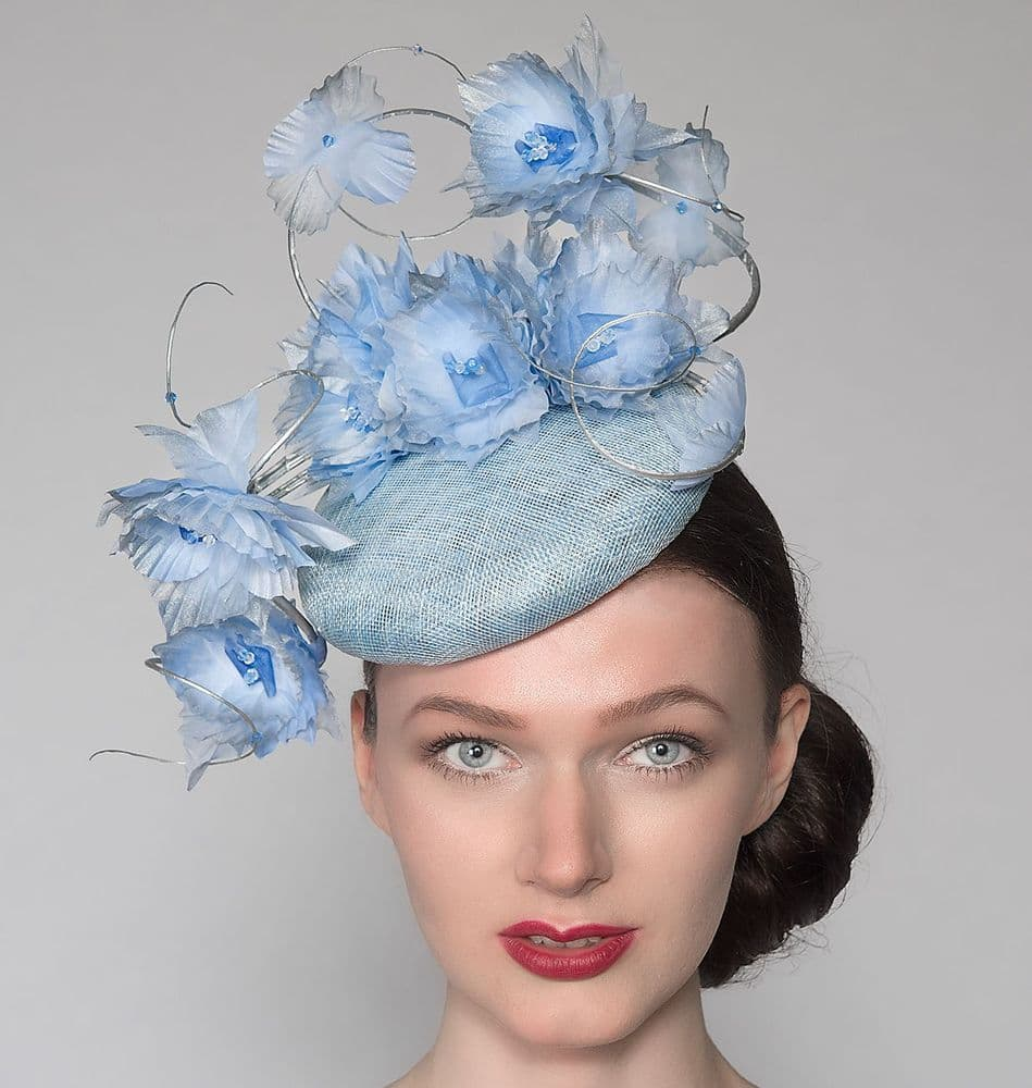 "Cornflower Blue Silver Suspended Silk Flowers Smartie Headpiece Cocktail Ascot Hat ""Reba"""