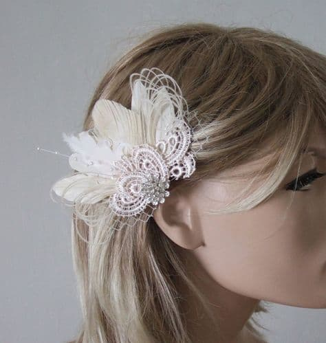 """Cream White Peacock & Goose Feathers + Guipure Lace + Veiling Bridal Wedding Fascinator Hair Clip """"Zia"""""""