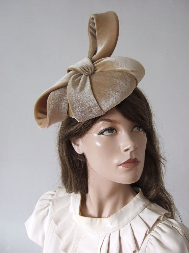 Honey Beige Nude Velvet Bow  Smartie Cocktail Hat Headpiece Fascinator - Autumn Winter Weddings