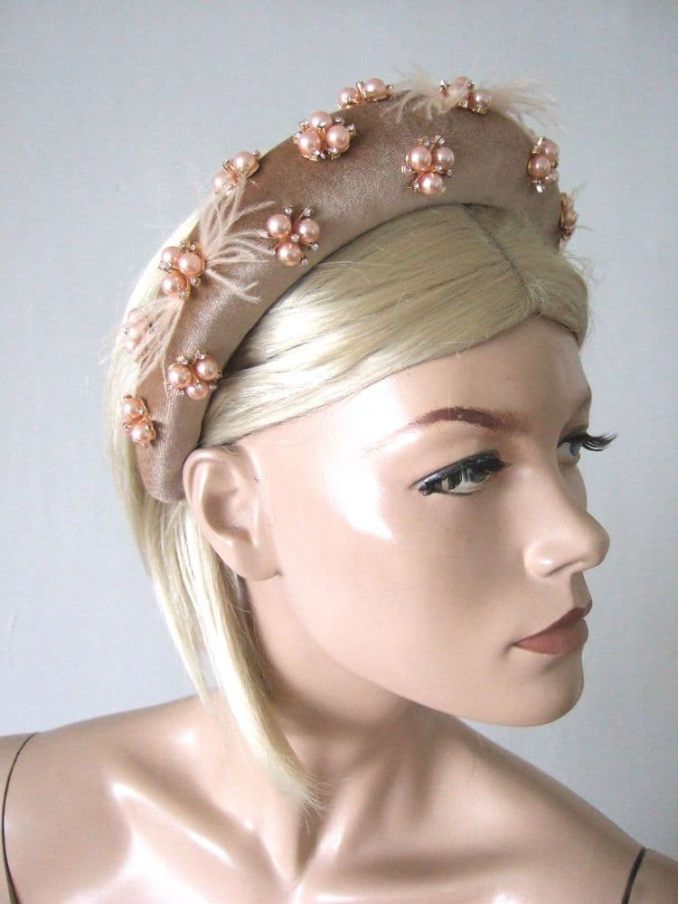Honey Nude Thick Padded Wide Embellished Headband with Rose Gold Pearls Feathers + Crystals
