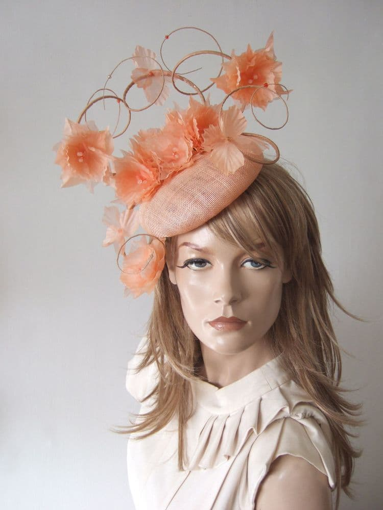 "Pastel Peach Suspended Silk Flowers Smartie Headpiece Cocktail Ascot Hat ""Reba"""