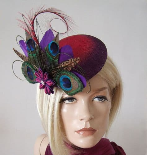 Purple Fuchsia Ombre Peacock & Pheasant Large Button Headpiece Fascinator Ascot Hat MN174