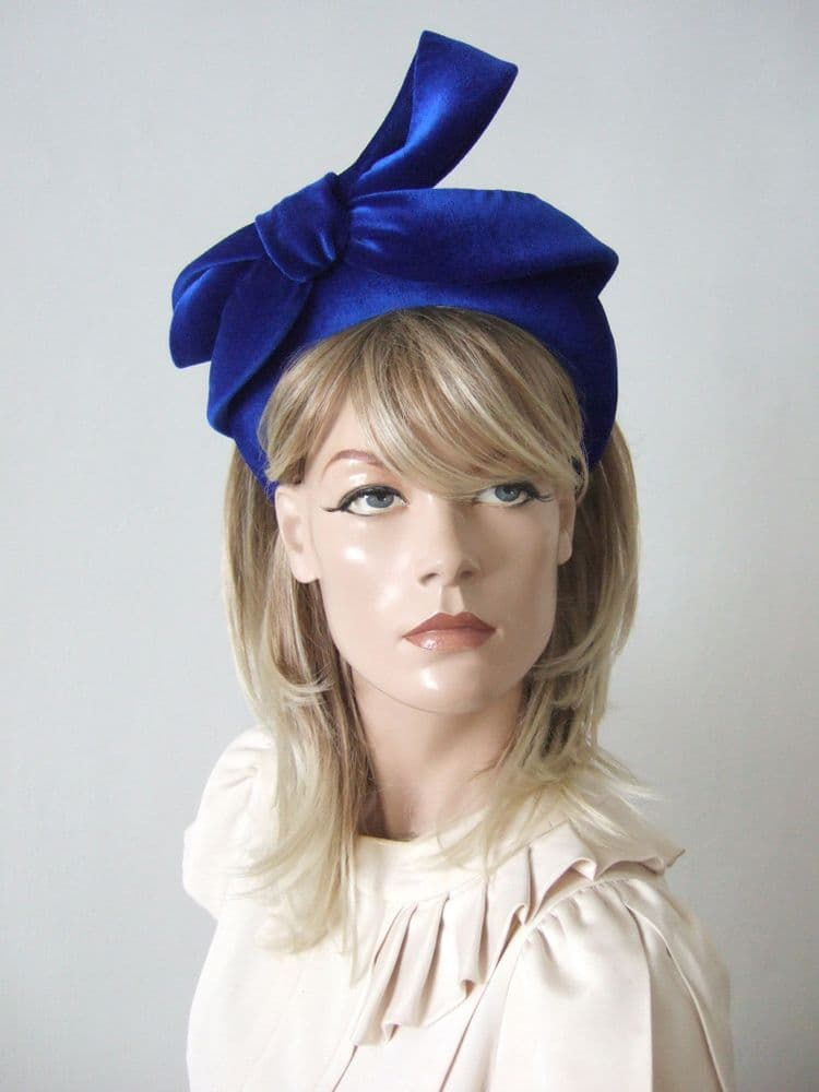 Royal Sapphire Blue Velvet Thick Padded Headband - Bow Embellish Autumn Winter Wedding - Zoom Calls