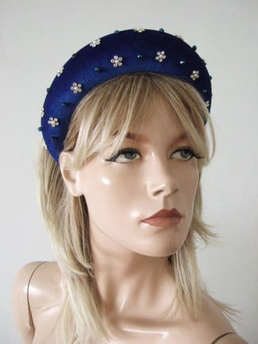 Royal Sapphire Blue Velvet Thick Padded Wide Crystal Embellished Headband - Autumn Winter Wedding