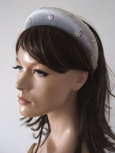 Silver Velvet Thick Padded Wide Embellished Headband with Snowflakes in Crystals