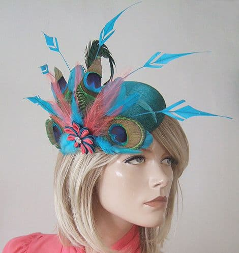 Turquoise, Teal, Coral Peacock Large Ombre Button Headpiece Fascinator. Peacock Fascinator for weddings. Peacock Mother of the Bride Hat. Peacock Royal Ascot Hats. Turquoise Hats.
