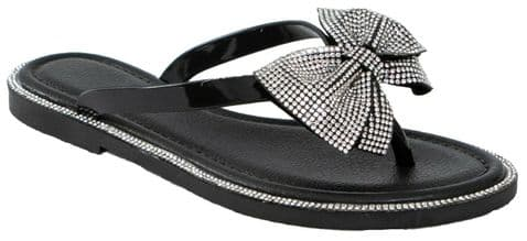 Jelly Sandals Beach Sliders Diamante Bow Flat Flip Flop Shoes Thong Size Womens