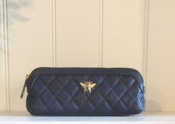 Alice Wheeler Bumblebee Quilted Beauty & Brush Case – Navy