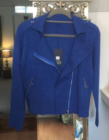 Biker Style Soft Jacket - Royal Blue