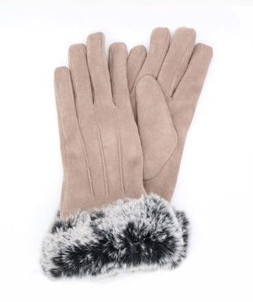 Camel Faux Suede Gloves With Faux Fur Cuff