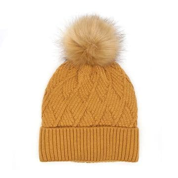 Caramel Lined Bobble Hat With Faux Fur Pom Pom