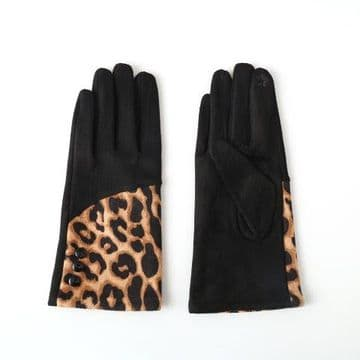 Faux Suede Gloves Leopard Print - Black