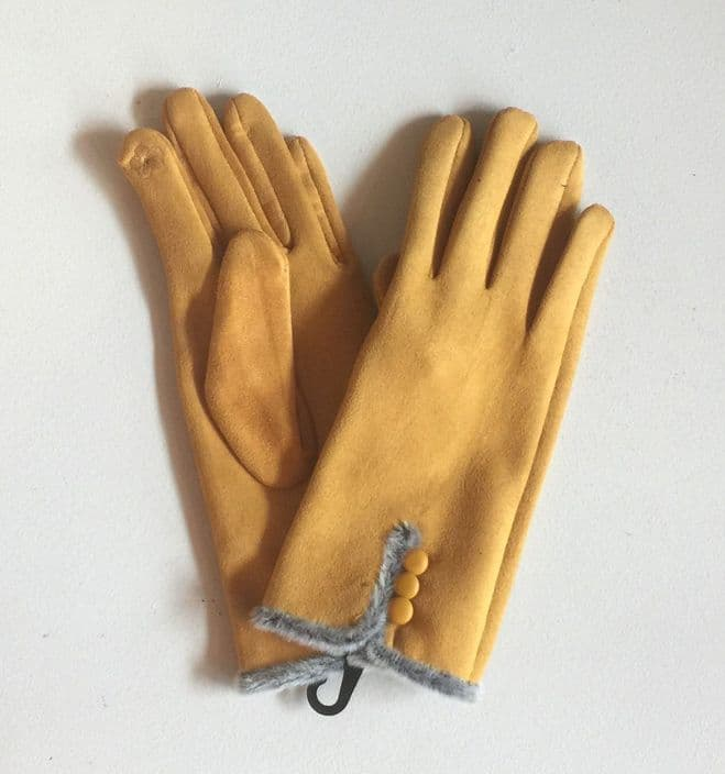 Faux Suede Gloves With Decorative Buttons - Mustard
