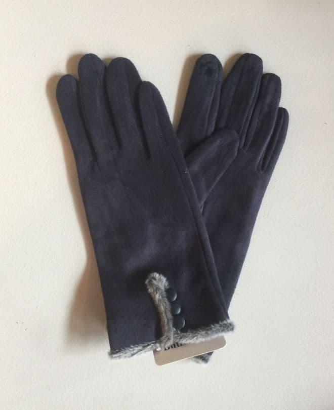 Faux Suede Gloves With Decorative Buttons - Navy