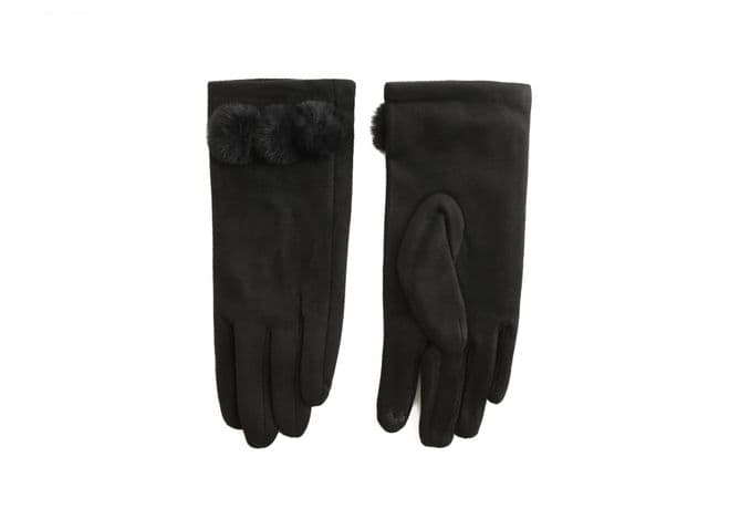 Faux Suede Gloves With Pom Poms - Black