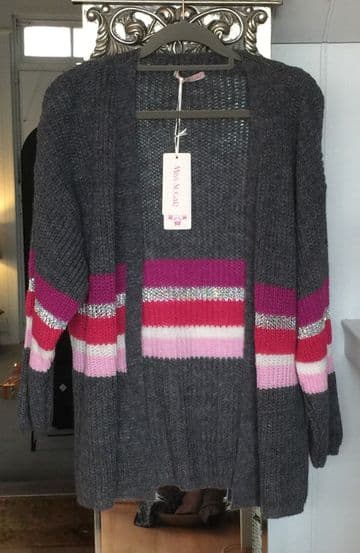 Knitted Open Cardigan - Striped Arms & Waist -  Grey