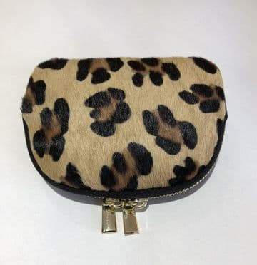 Leather Animal Print Purse/Make Up Bag - Large Leopard