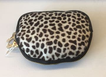 Leather Animal Print Purse/Make Up Bag -  Light Cheetah